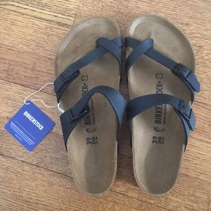 Birkenstock Sandals Black and Tan, Brand New US 8